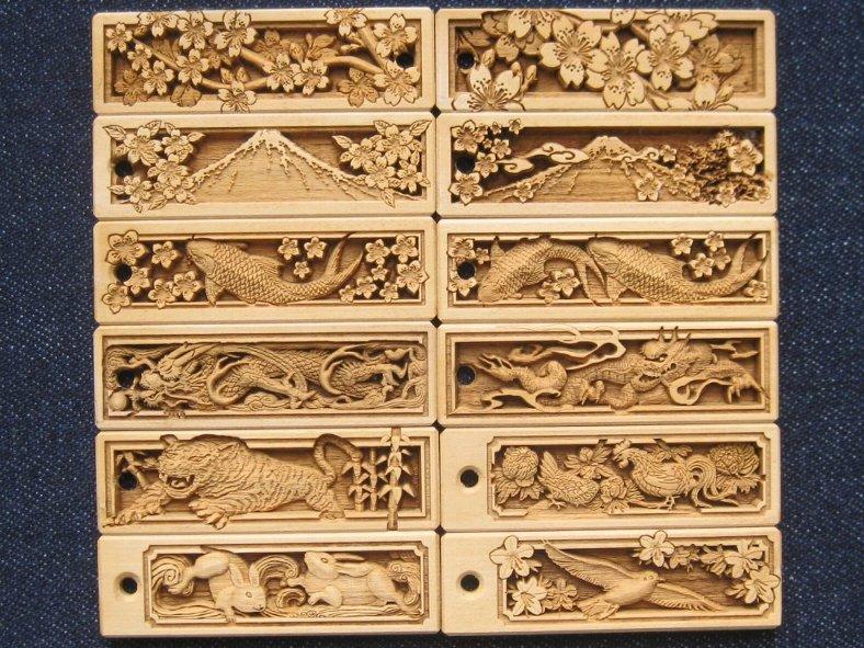 武蔵野彫り 立体彫刻木札