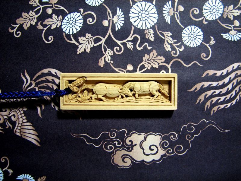 武蔵野彫り 馬 木札 ツゲ