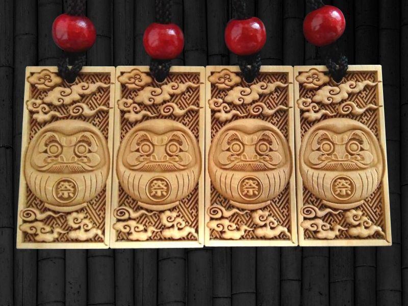 木札 武蔵野彫り だるま 御蔵島ツゲ