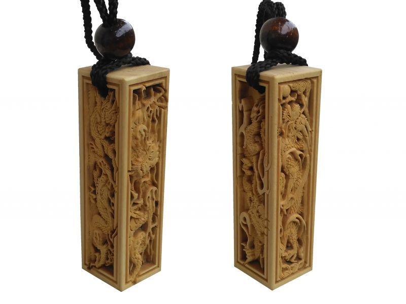 武蔵野彫り 木札 四面彫刻
